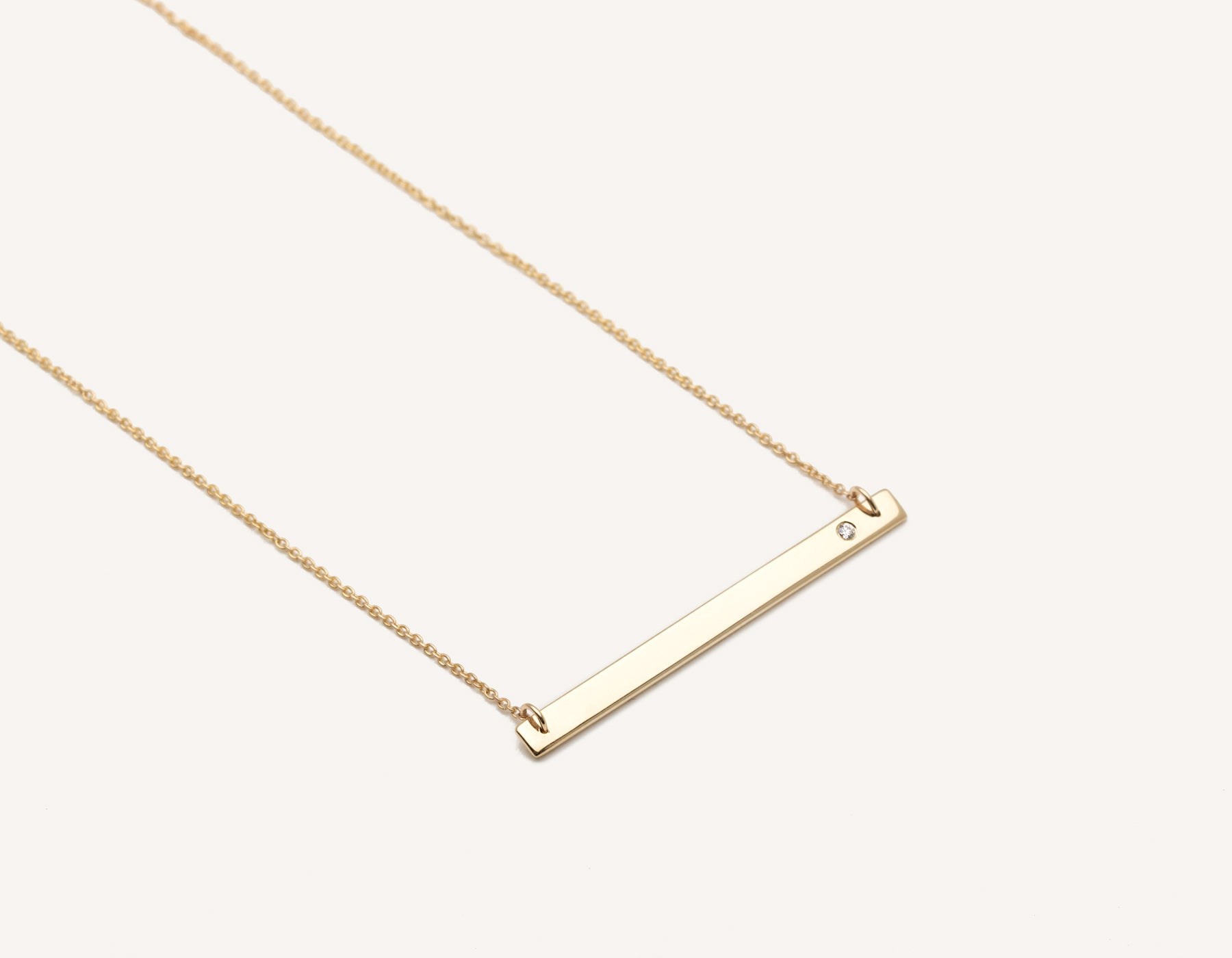 Stylish engravable 14k solid gold Bar Necklace with small round diamond on classic chain by Vrai & Oro minimalist jewelry, 14K Yellow Gold
