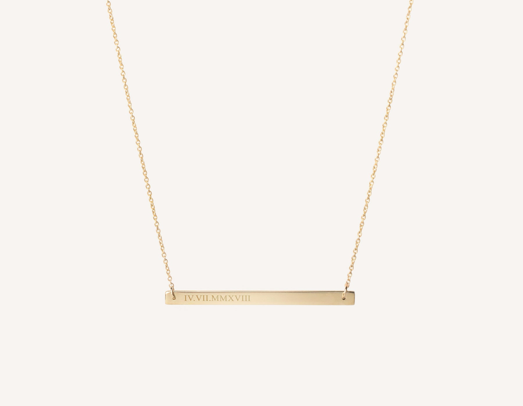 53364758e41bbc personalized engraving 14k solid gold Bar Necklace on dainty 17