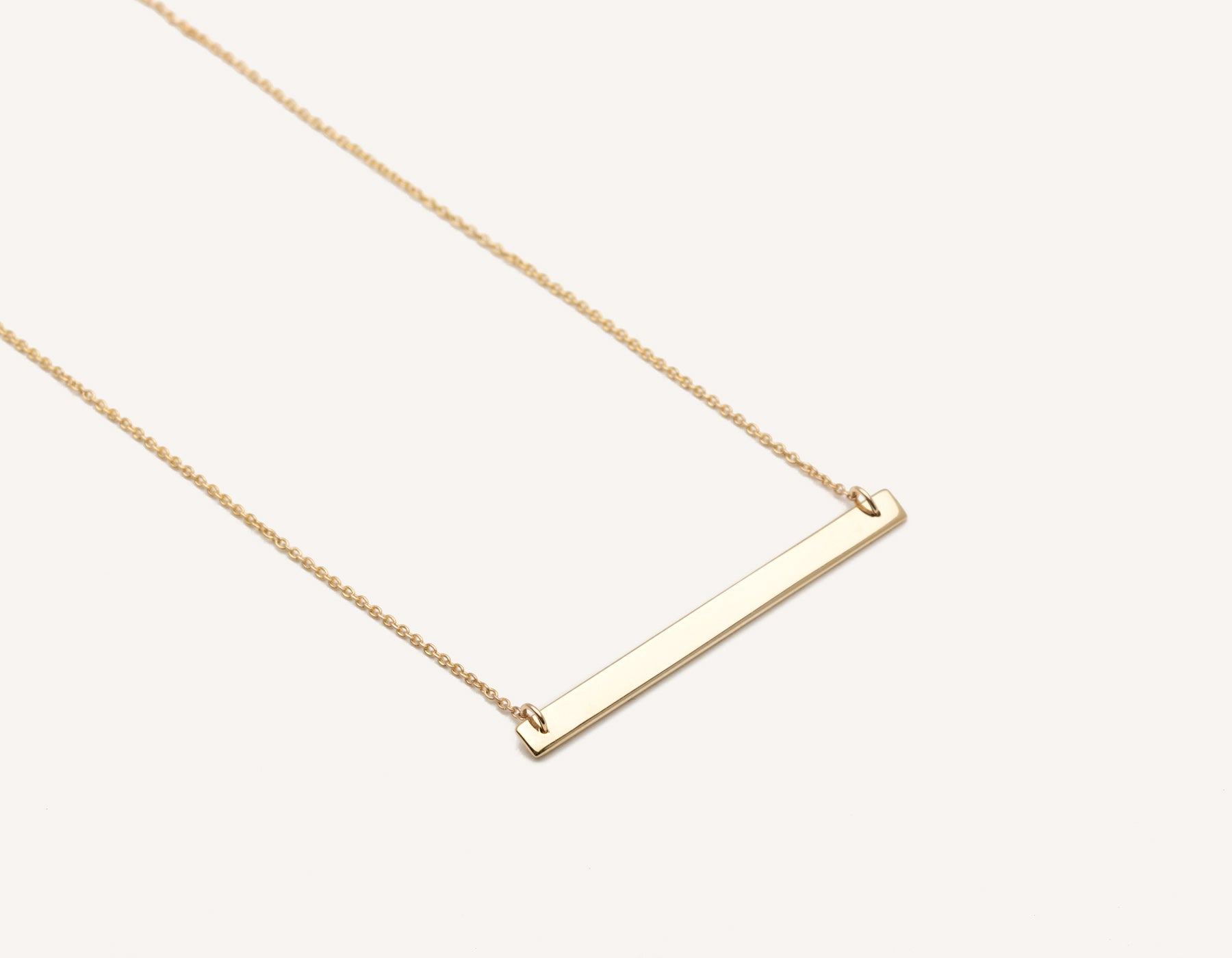 simple custom 14k solid gold thin Bar Necklace on delicate 17 inch chain by Vrai & Oro modern jewelry, 14K Yellow Gold
