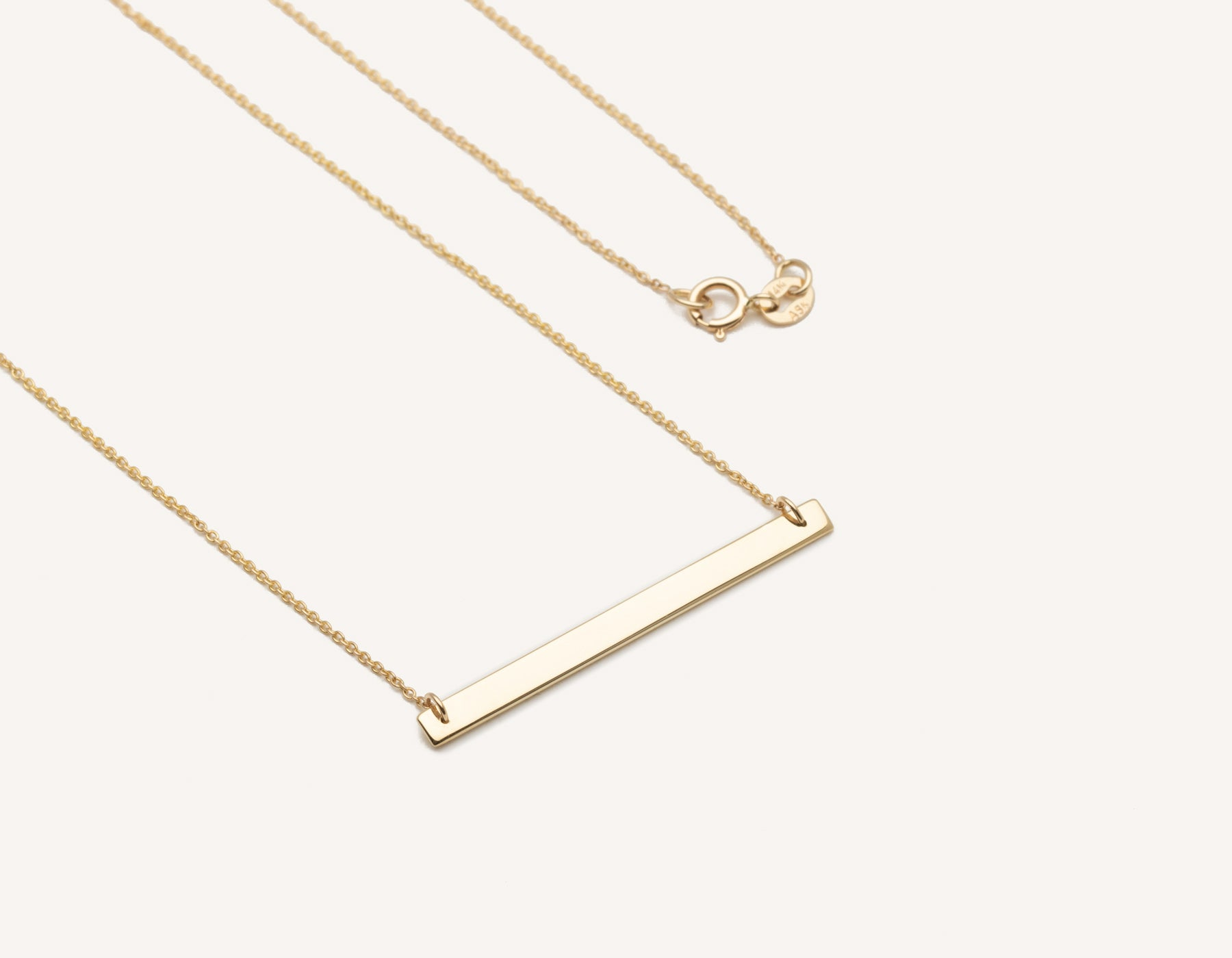 save off ff673 568b1 customized minimalist 14k solid gold Bar Necklace on 17