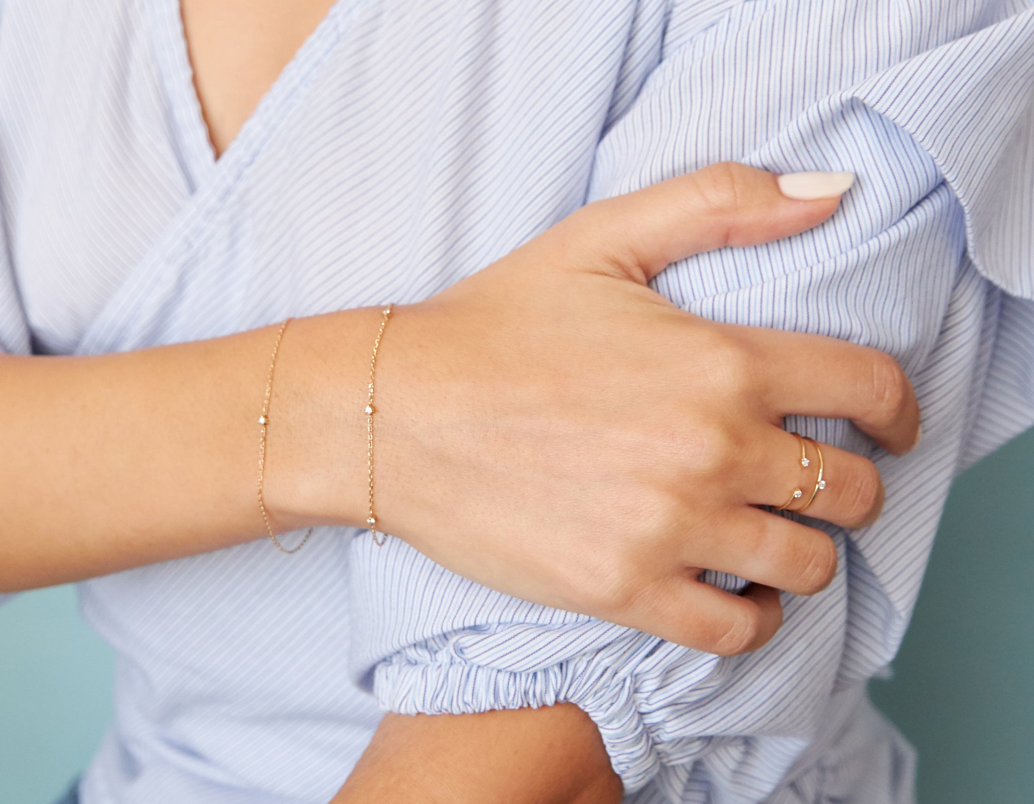 Woman modeling Vrai dainty Tiny Diamond Bracelet