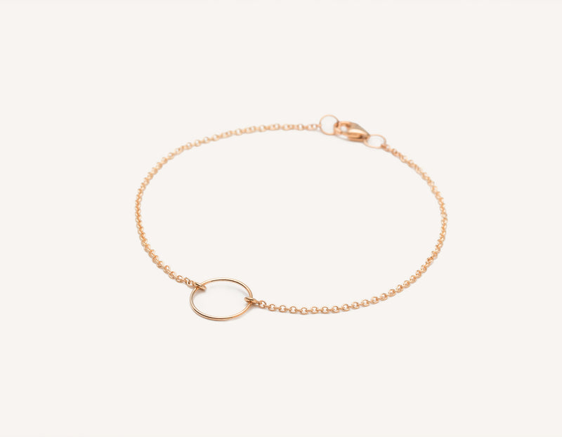 Vrai and Oro modern minimalist 14k solid gold wire Circle Bracelet on dainty chain with lobster clasp, 14K Rose Gold