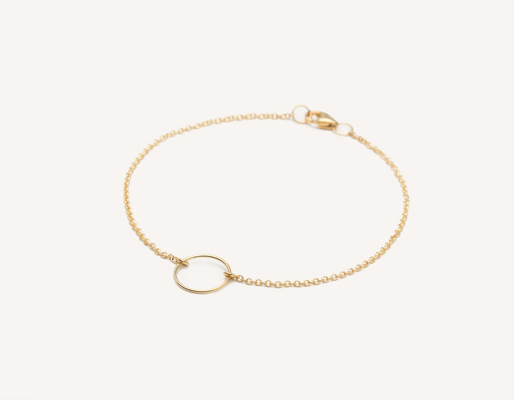 Vrai and Oro modern minimalist 14k solid gold wire Circle Bracelet on dainty chain with lobster clasp, 14K Yellow Gold