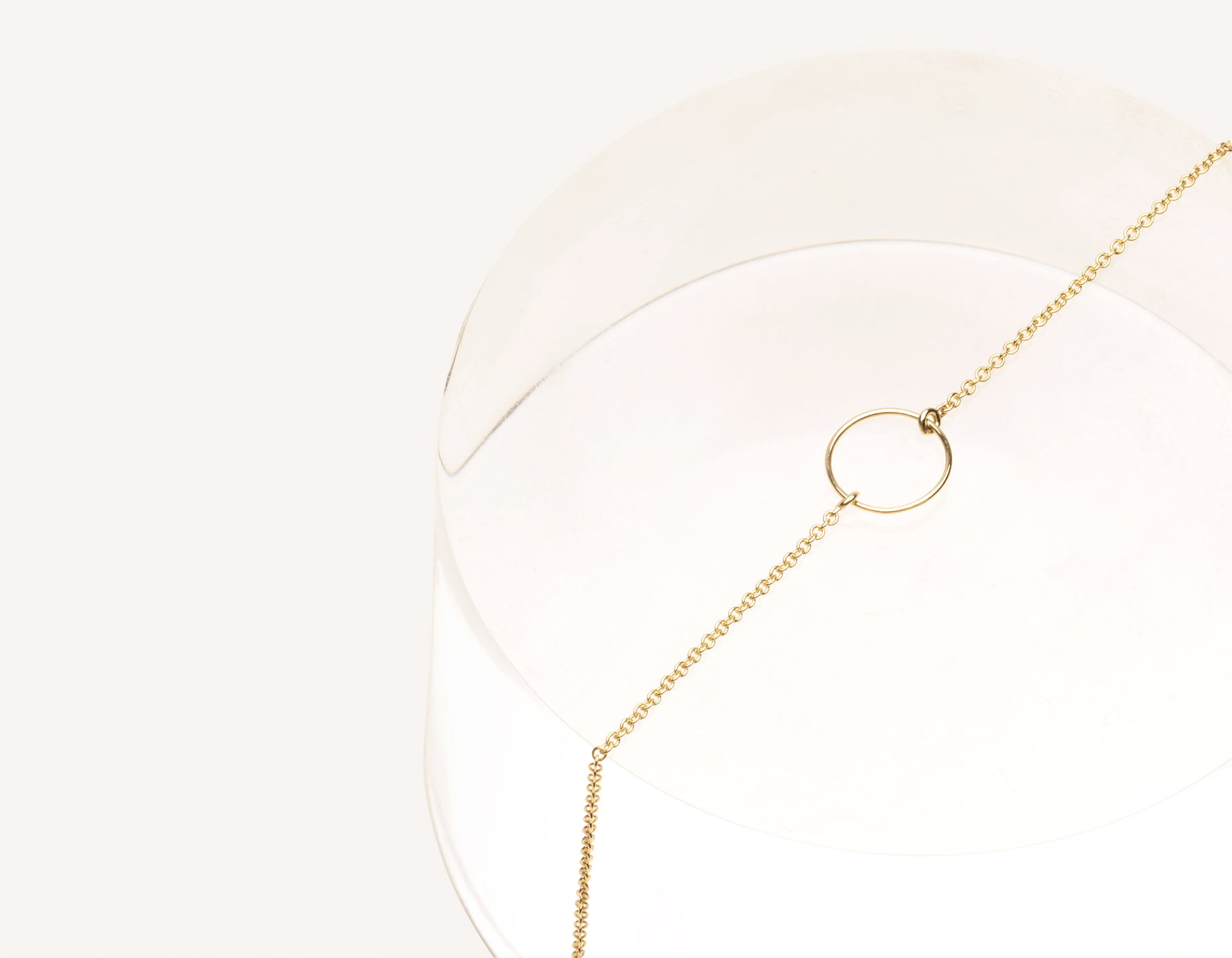 Unique stylish 14k solid gold Circle Bracelet on simple chain by Vrai & Oro sustainable jewelry, 14K Yellow Gold