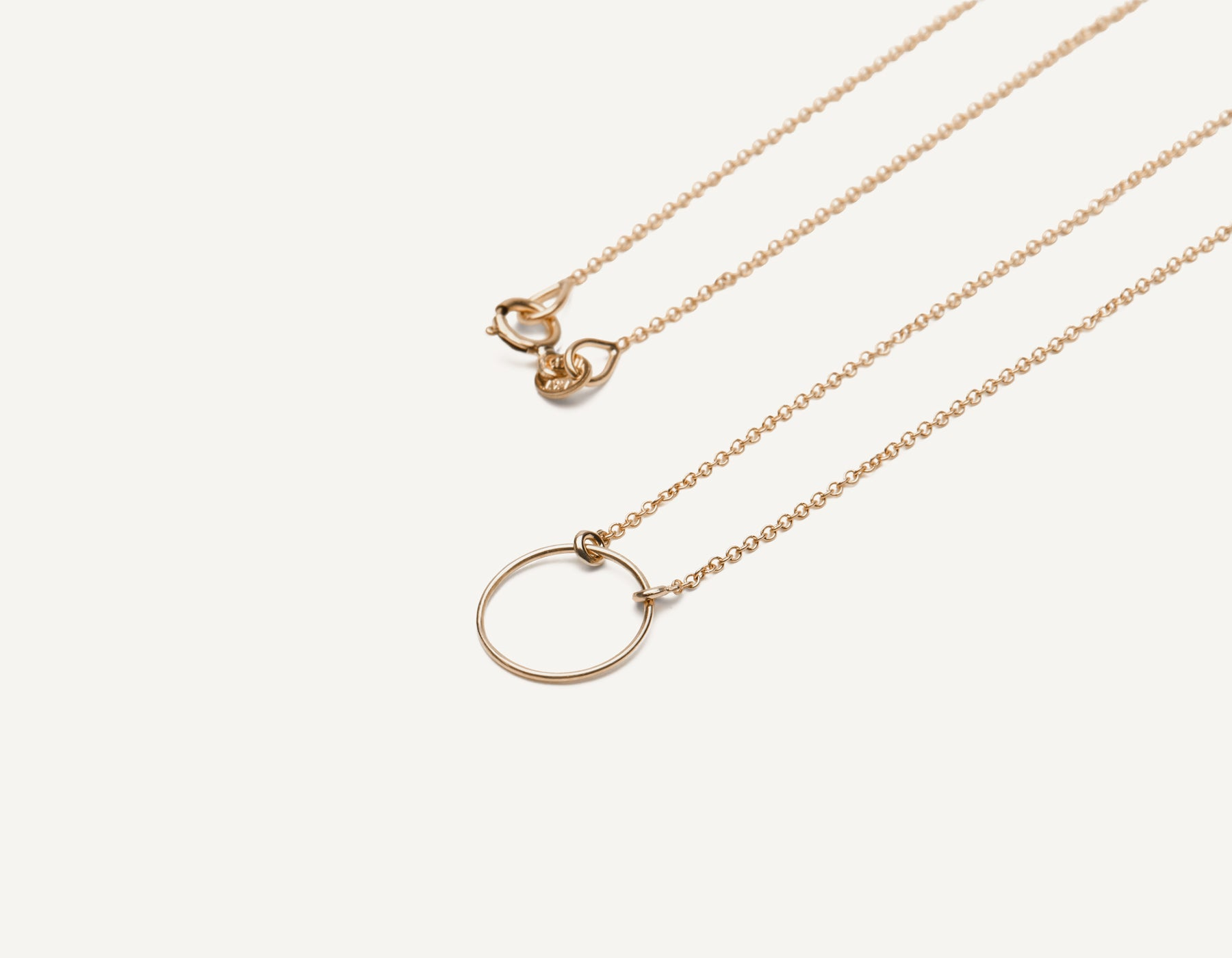 Delicate minimalist 14k solid gold wire Circle Necklace with spring ring clasp by Vrai & Oro handcrafted jewelry, 14K Rose Gold
