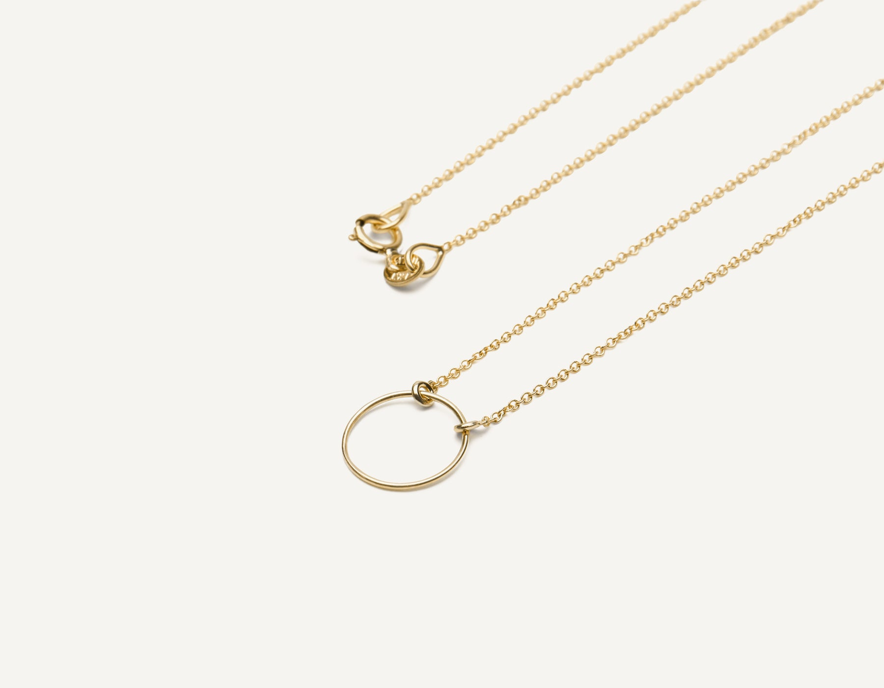 Delicate minimalist 14k solid gold wire Circle Necklace with spring ring clasp by Vrai & Oro handcrafted jewelry, 14K Yellow Gold
