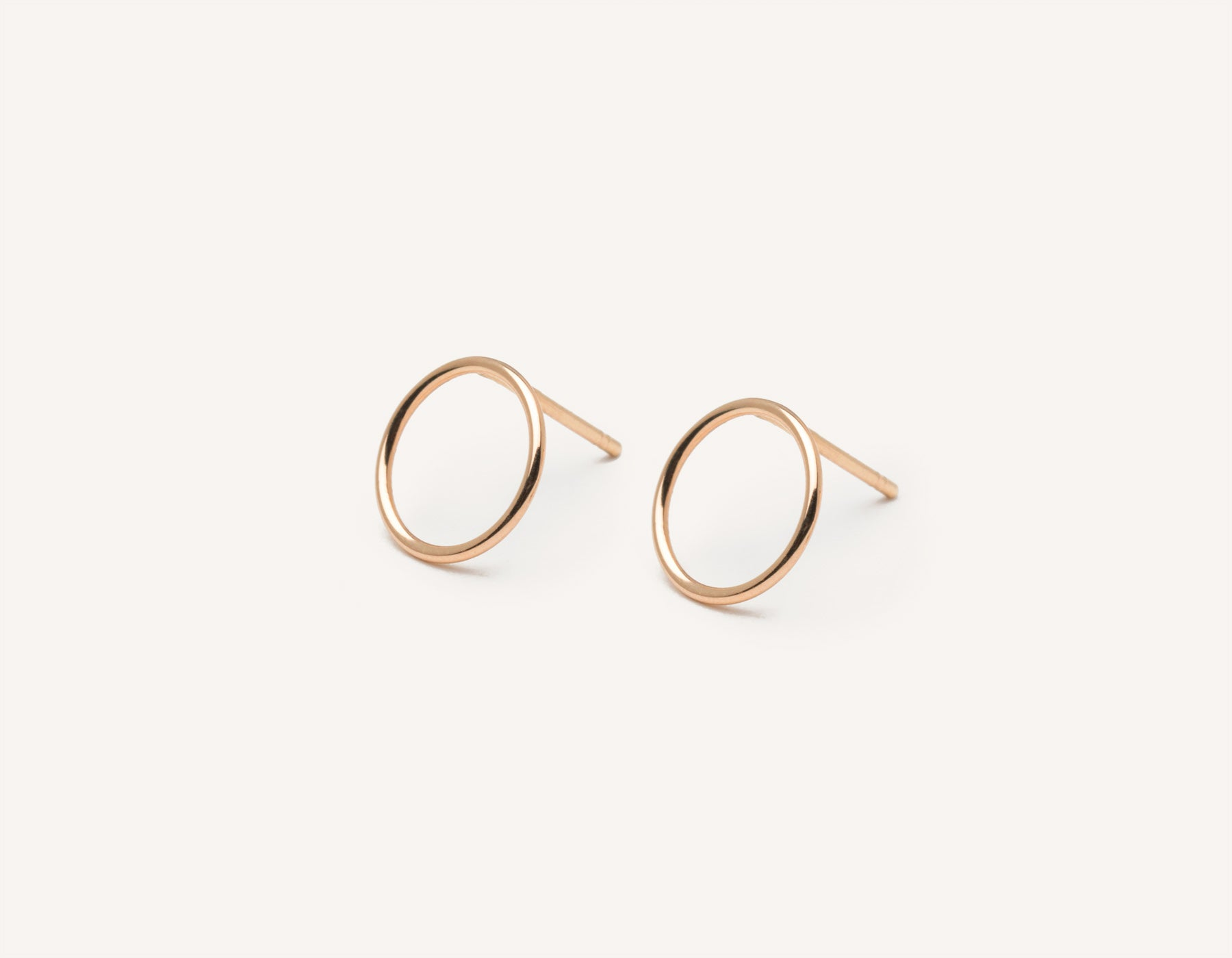 Vrai and Oro modern minimalist Circle Studs 14k solid gold post earrings , 14K Rose Gold