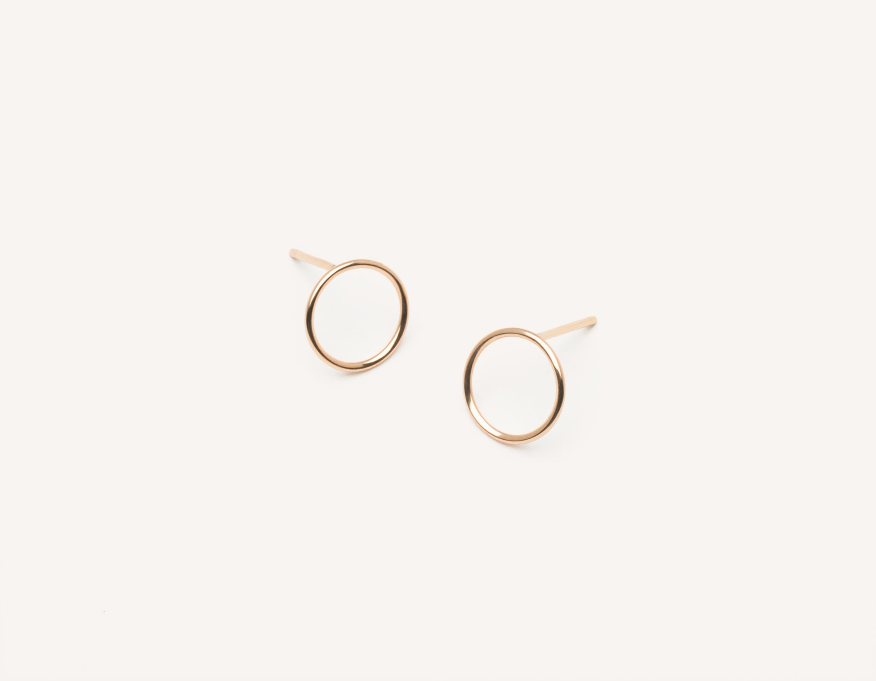 Simple classic Circle Stud Earrings 14k solid gold Vrai & Oro minimalist jewelry, 14K Rose Gold