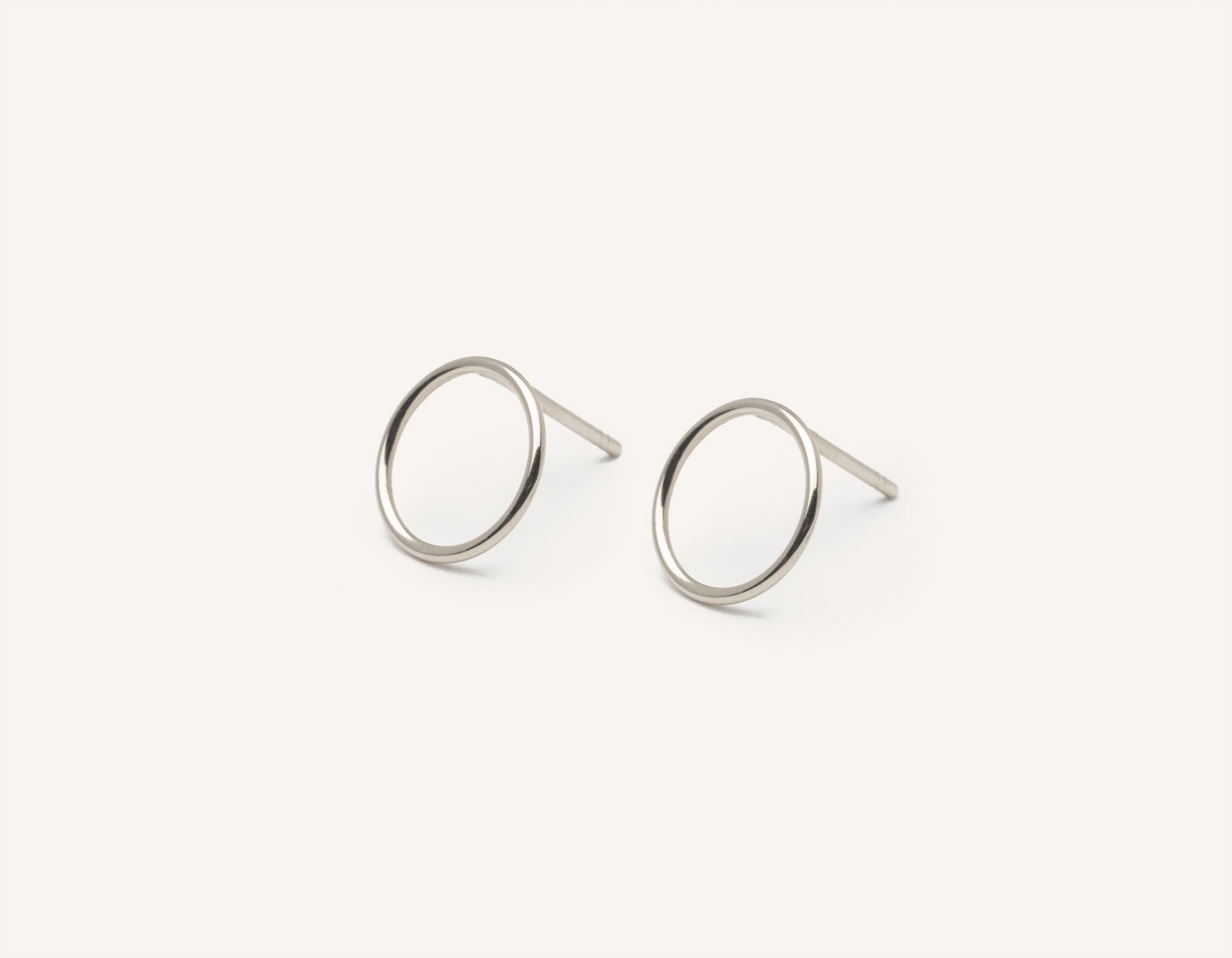 Vrai and Oro modern minimalist Circle Studs 14k solid gold post earrings , 14K White Gold