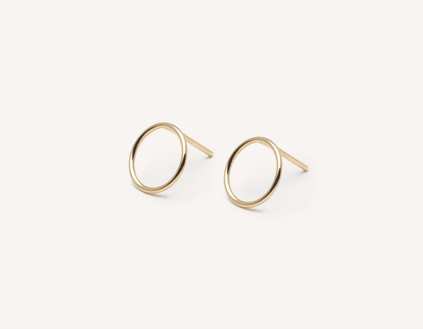 Vrai and Oro modern minimalist Circle Studs 14k solid gold post earrings , 14K Yellow Gold