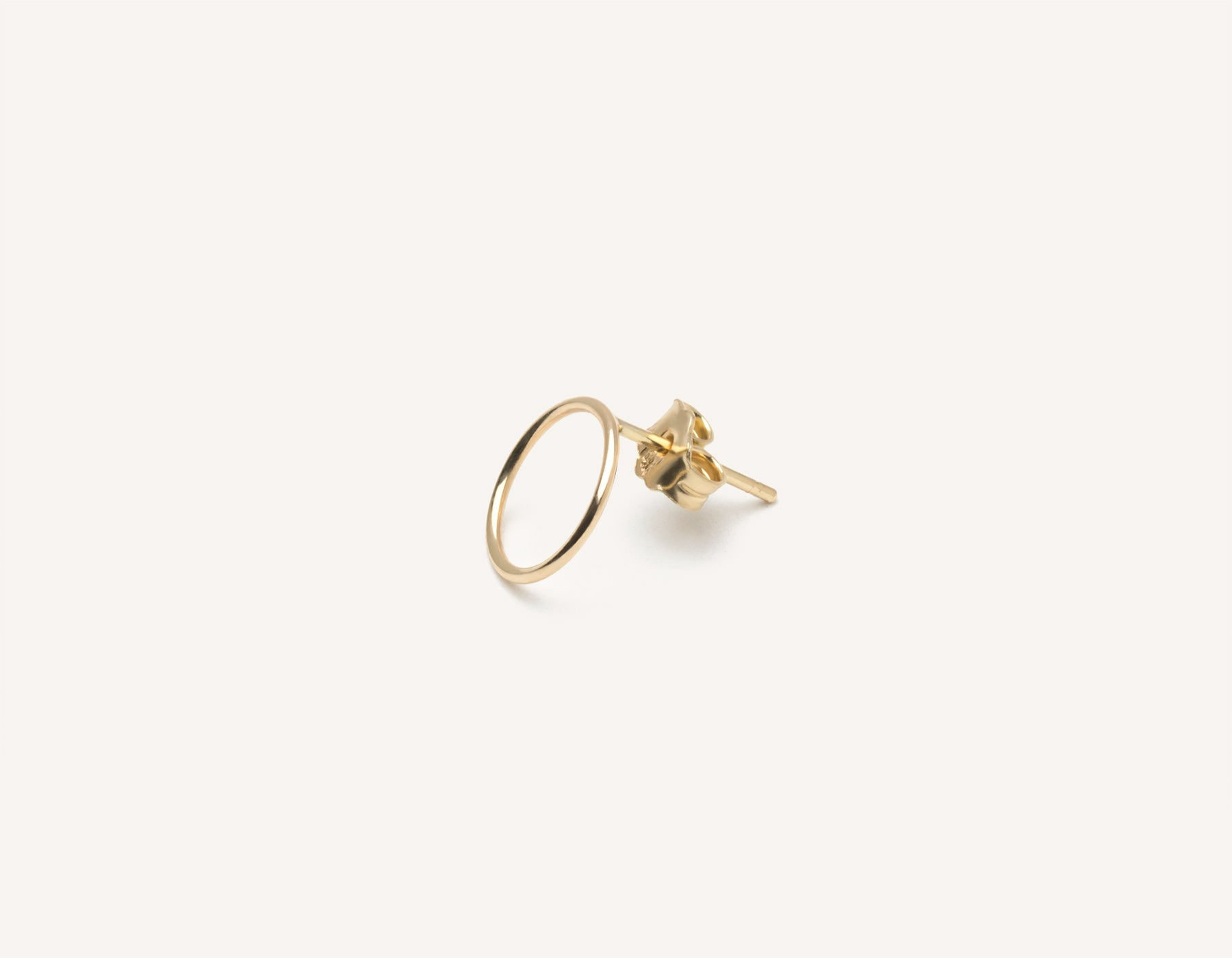 Basic subtle Circle Stud Earring 14k solid gold Vrai & Oro versatile jewelry, 14K Yellow Gold