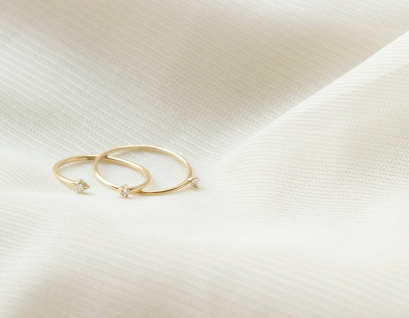 Vrai and oro minimalist small Constellation Stack bundle diamond solid gold rings