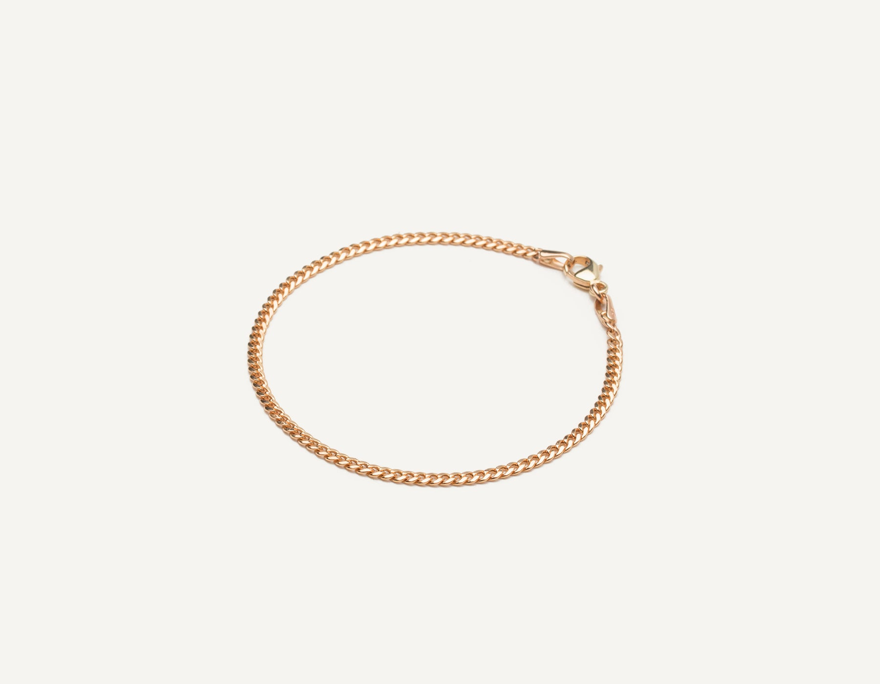 Vrai & Oro 14k solid gold modern minimalist Cuban Link bracelet with lobster clasp, 14K Rose Gold