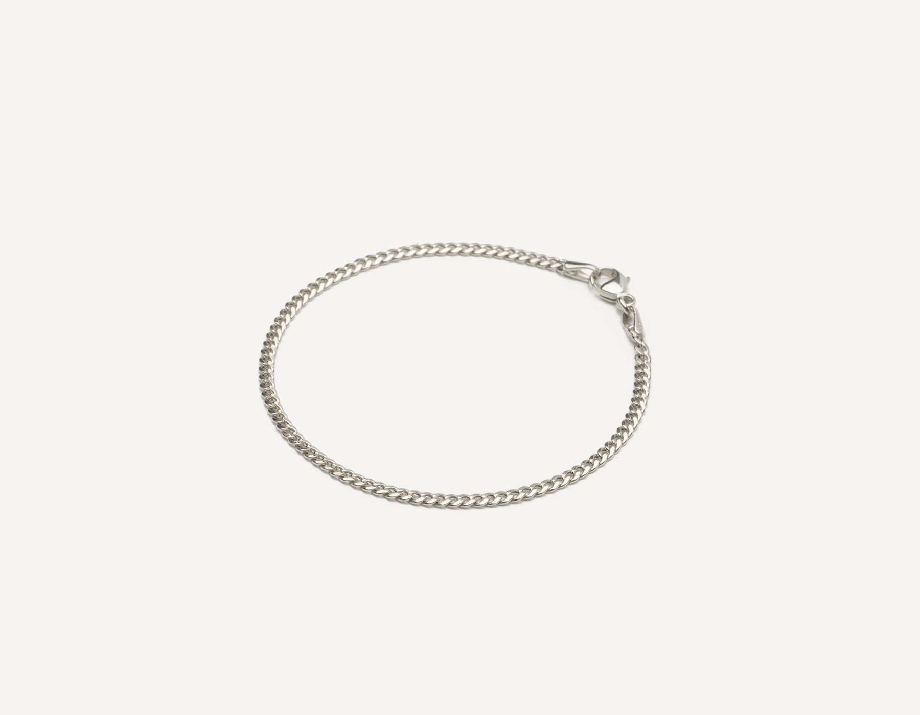 Vrai & Oro 14k solid gold modern minimalist Cuban Link bracelet with lobster clasp, 14K White Gold