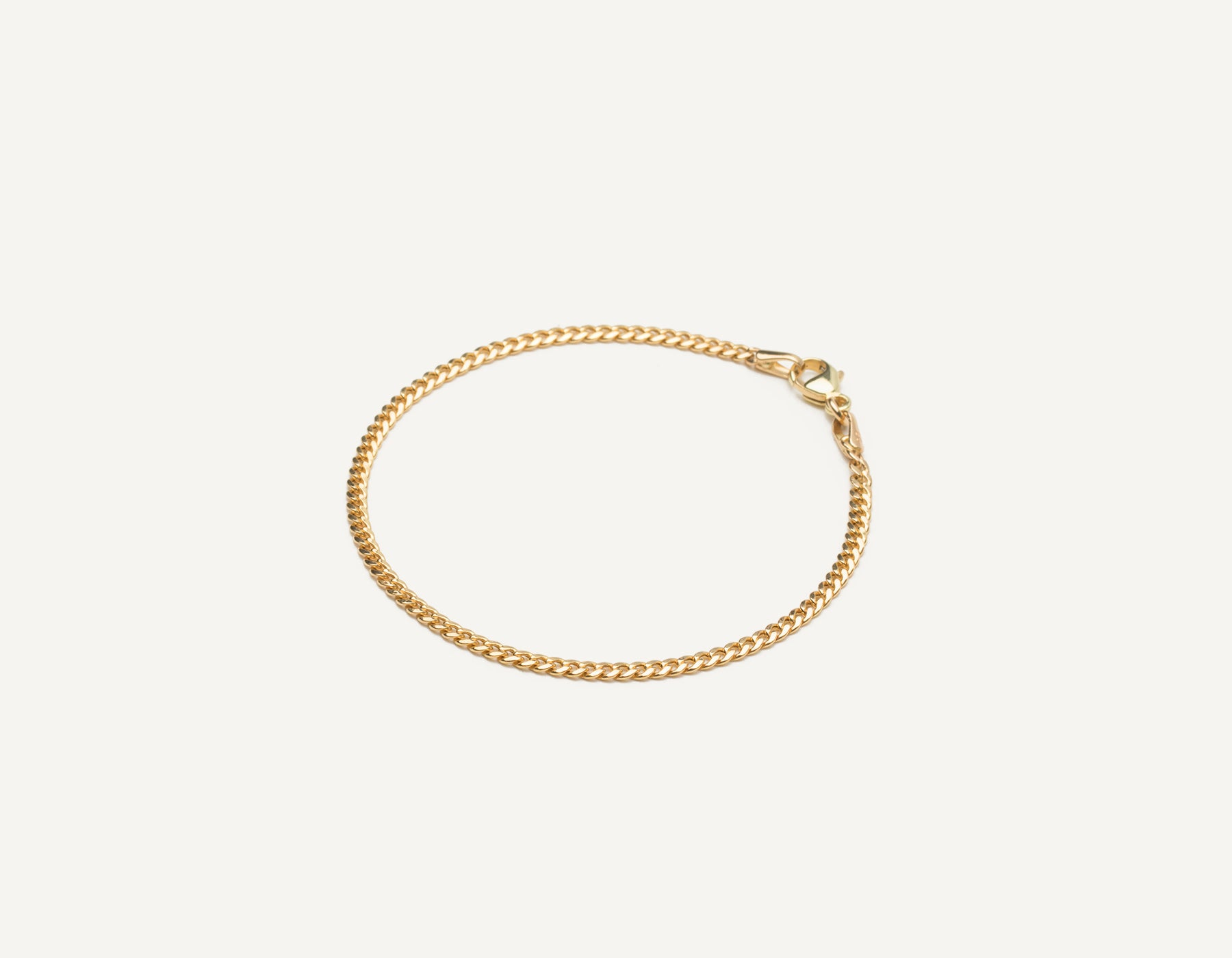 Vrai & Oro 14k solid gold modern minimalist Cuban Link bracelet with lobster clasp, 14K Yellow Gold