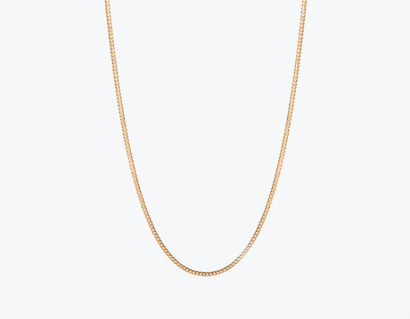 Modern minimalist thick Cuban Link Chain necklace in 14k solid gold by Vrai and Oro jewelry, 14K Rose Gold