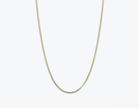 Modern minimalist thick Cuban Link Chain necklace in 14k solid gold by Vrai and Oro jewelry, 14K White Gold