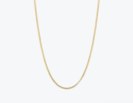 Modern minimalist thick Cuban Link Chain necklace in 14k solid gold by Vrai and Oro jewelry, 14K Yellow Gold