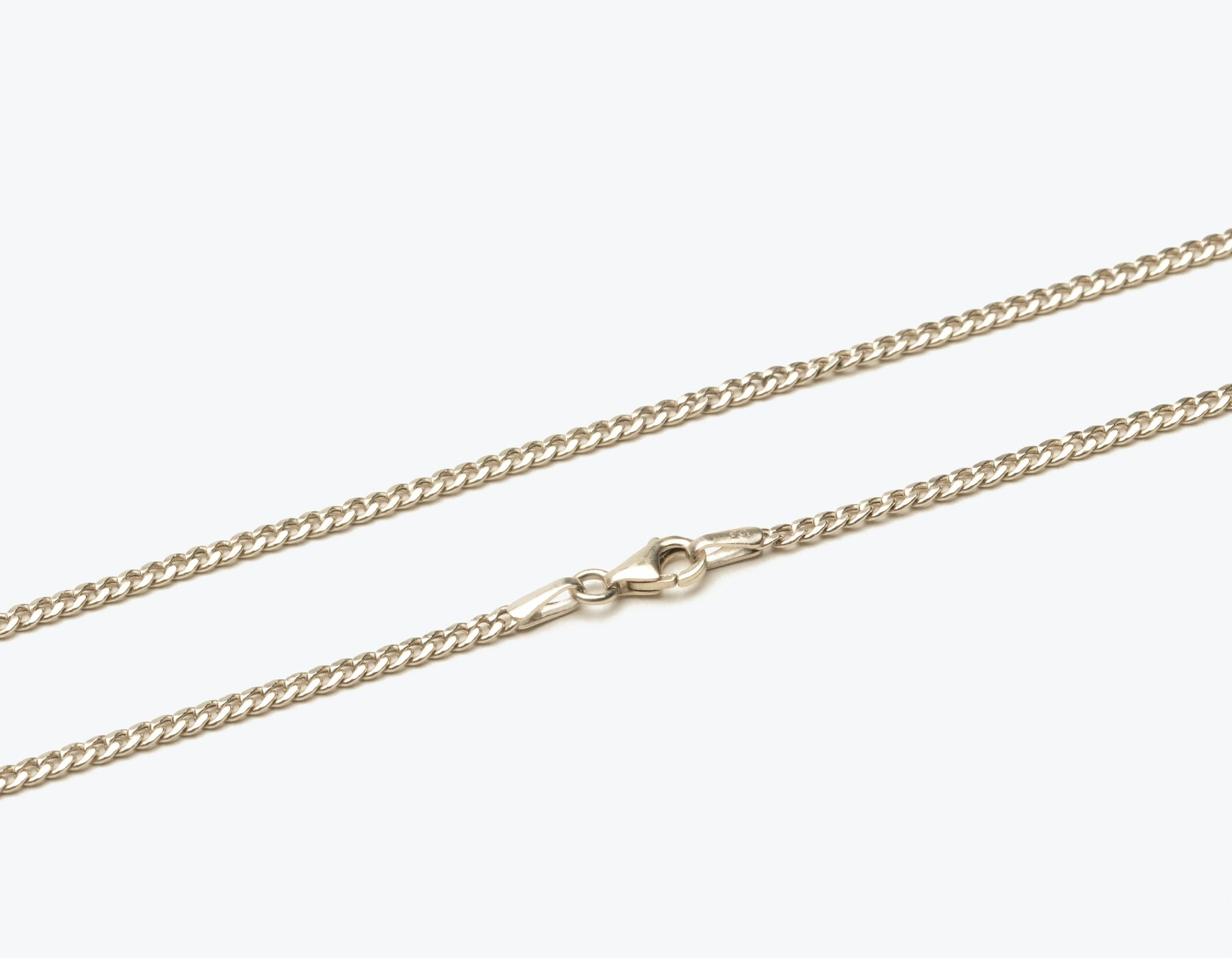 Simple classic 14k solid gold Cuban Link Chain necklace with lobster clasp by Vrai & Oro sustainable jewelry, 14K White Gold