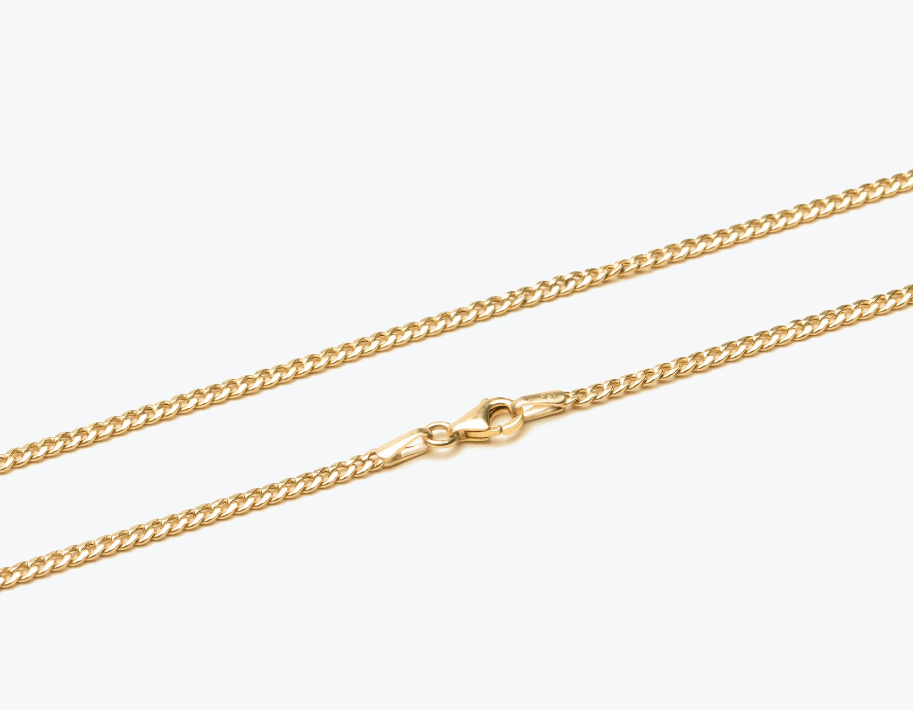 Simple classic 14k solid gold Cuban Link Chain necklace with lobster clasp by Vrai & Oro sustainable jewelry, 14K Yellow Gold