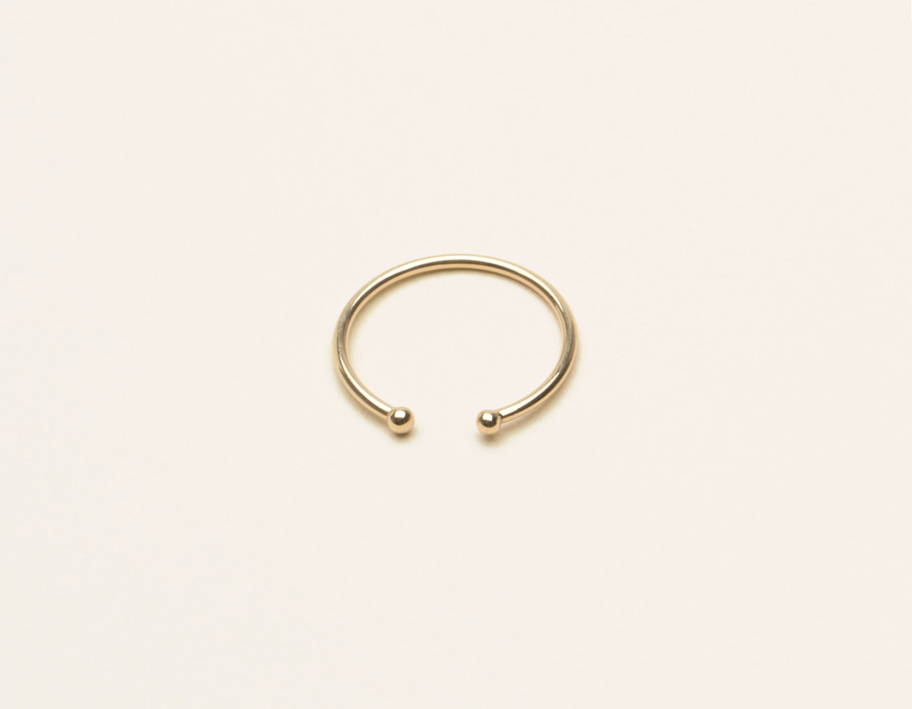 Simple modern 14k solid gold Dot Cuff Ring by Vrai and Oro minimalist jewelry, 14K Yellow Gold