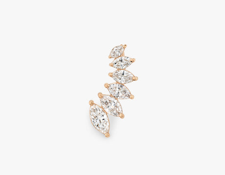 Elegant minimalist 14k solid gold diamond Marquise Ear Arc by Vrai, 14K Rose Gold