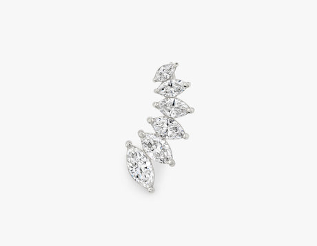 Elegant minimalist 14k solid gold diamond Marquise Ear Arc by Vrai, 14K White Gold