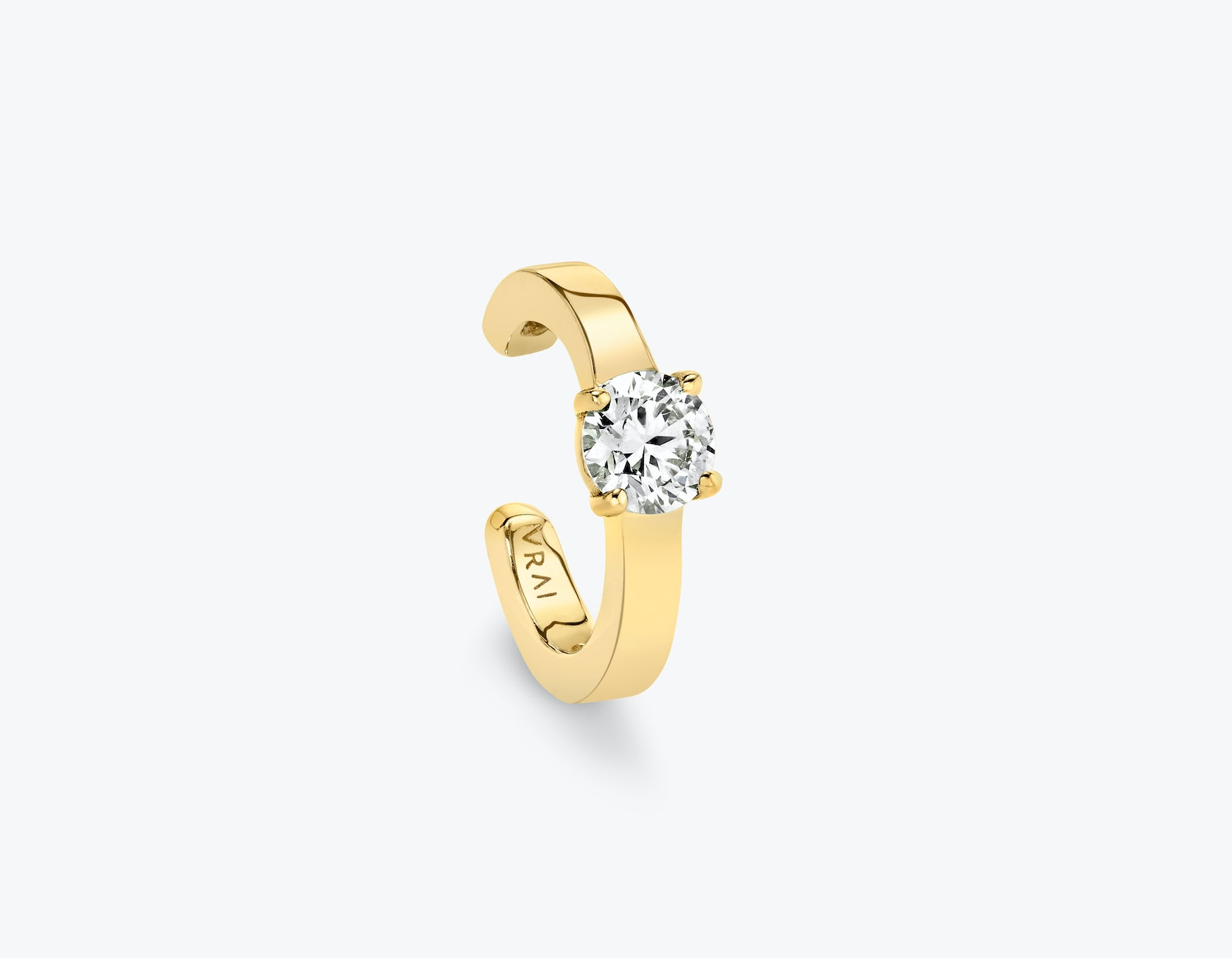 VRAI round brilliant diamond ear cuff 14k yellow gold sustainably created diamond
