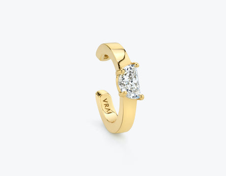 VRAI Half moon diamond ear cuff 14k yellow gold sustainably created diamond