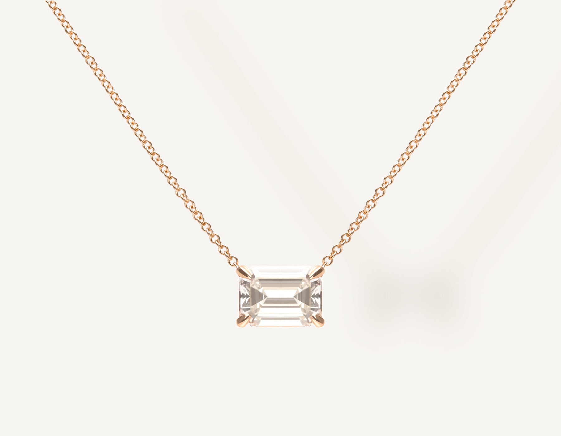 Simple modern 18k solid gold 1.0 ct Emerald Diamond Necklace on thin chain with lobster clasp Vrai and Oro, 18K Rose Gold