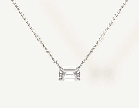 Simple modern 18k solid gold 1.0 ct Emerald Diamond Necklace on thin chain with lobster clasp Vrai and Oro, 18K White Gold