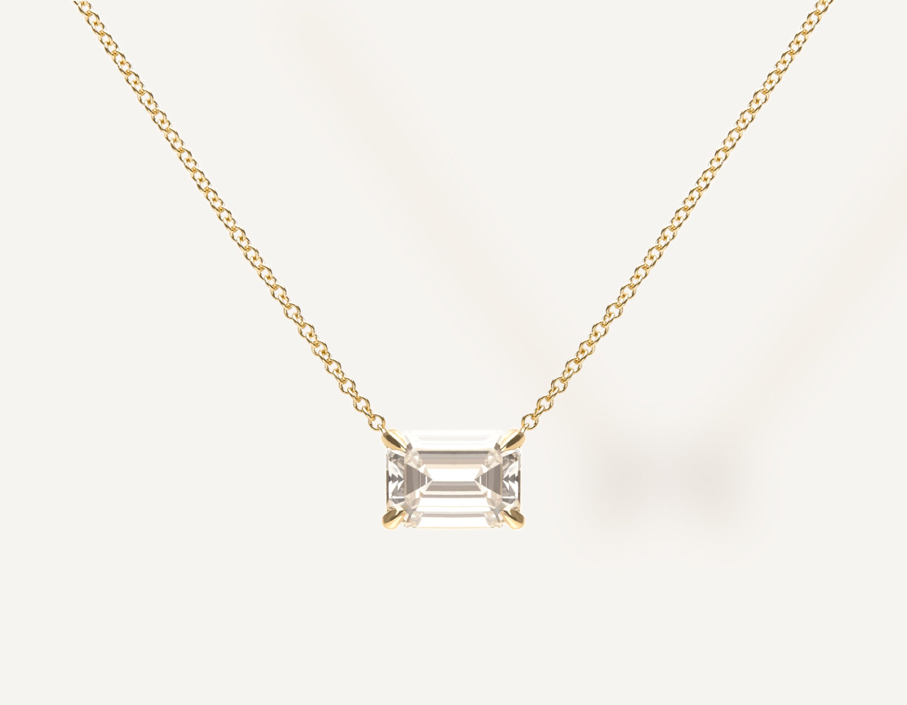 Simple modern 18k solid gold 1.0 ct Emerald Diamond Necklace on thin chain with lobster clasp Vrai and Oro, 18K Yellow Gold