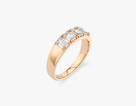 Vrai classic elegant Emerald Diamond Tetrad Band .25ct Emerald Diamond Ring, 14K Rose Gold