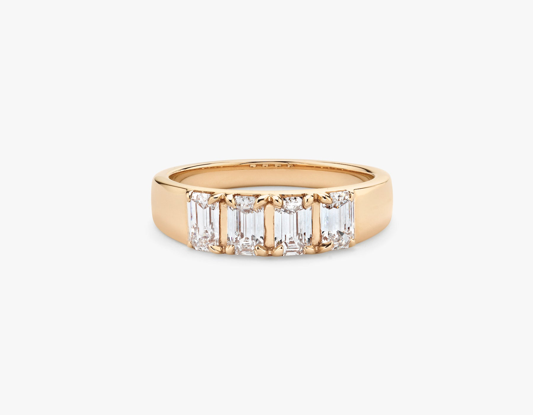 Vrai simple minimalist Emerald Diamond Tetrad Band .25ct Emerald Diamond Ring, 14K Rose Gold