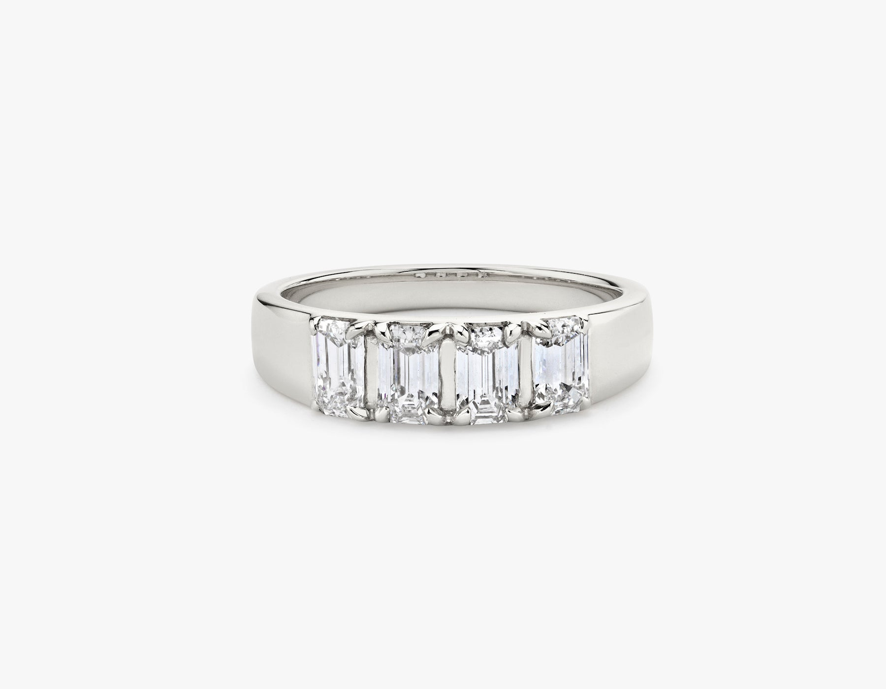Vrai simple minimalist Emerald Diamond Tetrad Band .25ct Emerald Diamond Ring, 14K White Gold