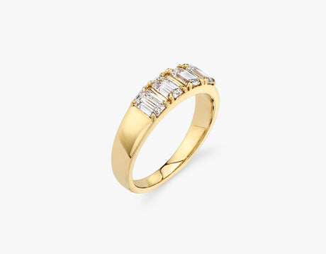 Vrai classic elegant Emerald Diamond Tetrad Band .25ct Emerald Diamond Ring, 14K Yellow Gold