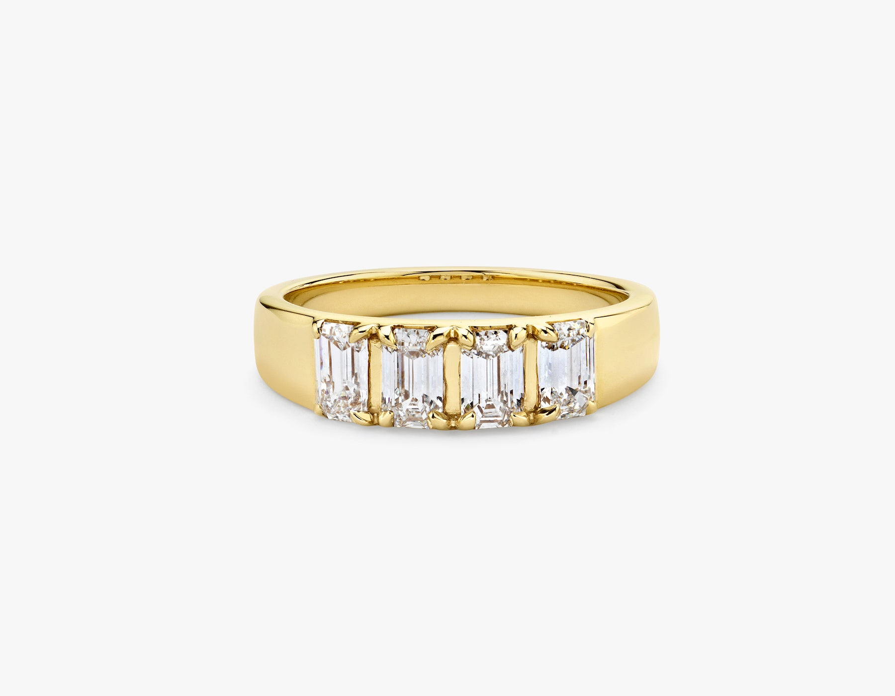 Vrai simple minimalist Emerald Diamond Tetrad Band .25ct Emerald Diamond Ring, 14K Yellow Gold