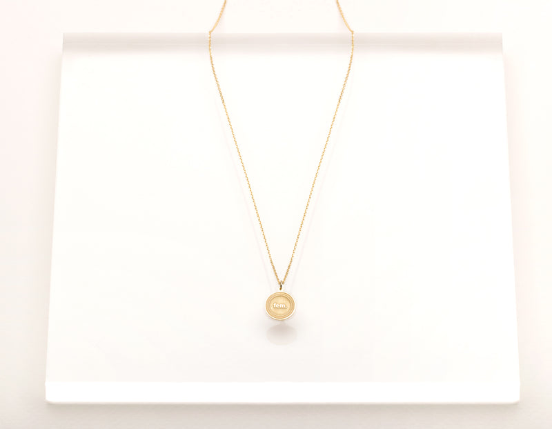 classic unique solid 14k yellow gold Fem. Necklace round female pendant on dainty 18 inch chain by Vrai & Oro sustainable jewelry