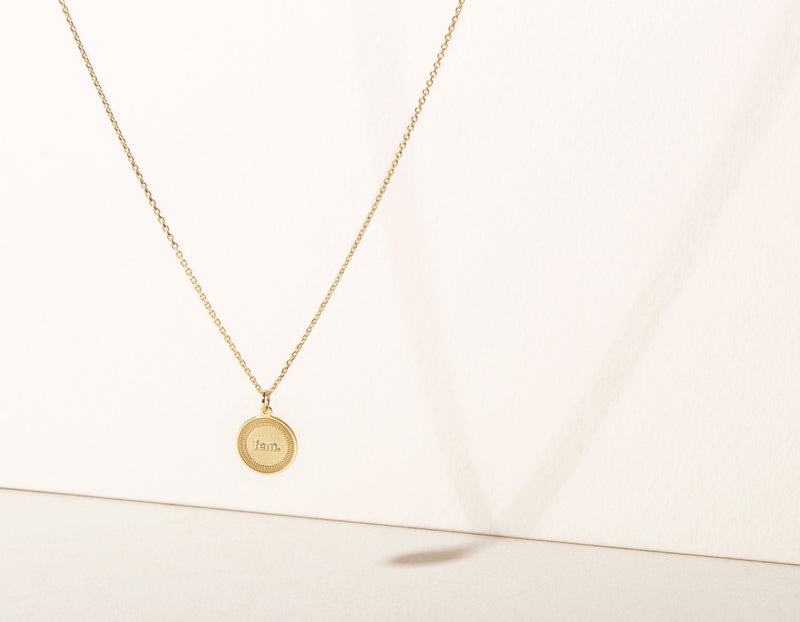 "simple modern 14k solid yellow gold Fem. Necklace circle female pendant on delicate 18"" chain by Vrai & Oro minimalist jewelry"