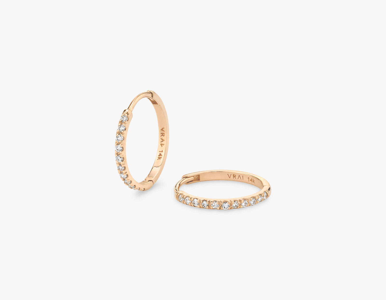 Vrai 14k solid gold simple classic Pave Diamond Huggie Hoops earrings hinge closure, 14K Rose Gold