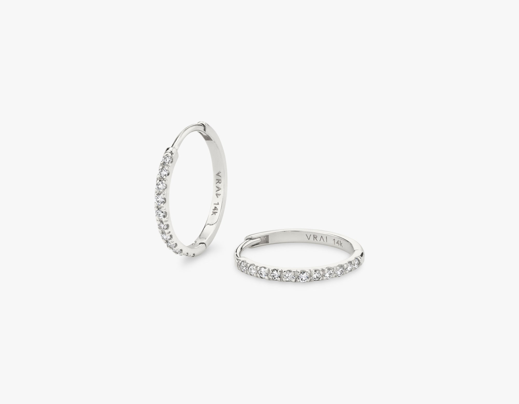 Vrai 14k solid gold simple classic Pave Diamond Huggie Hoops earrings hinge closure, 14K White Gold