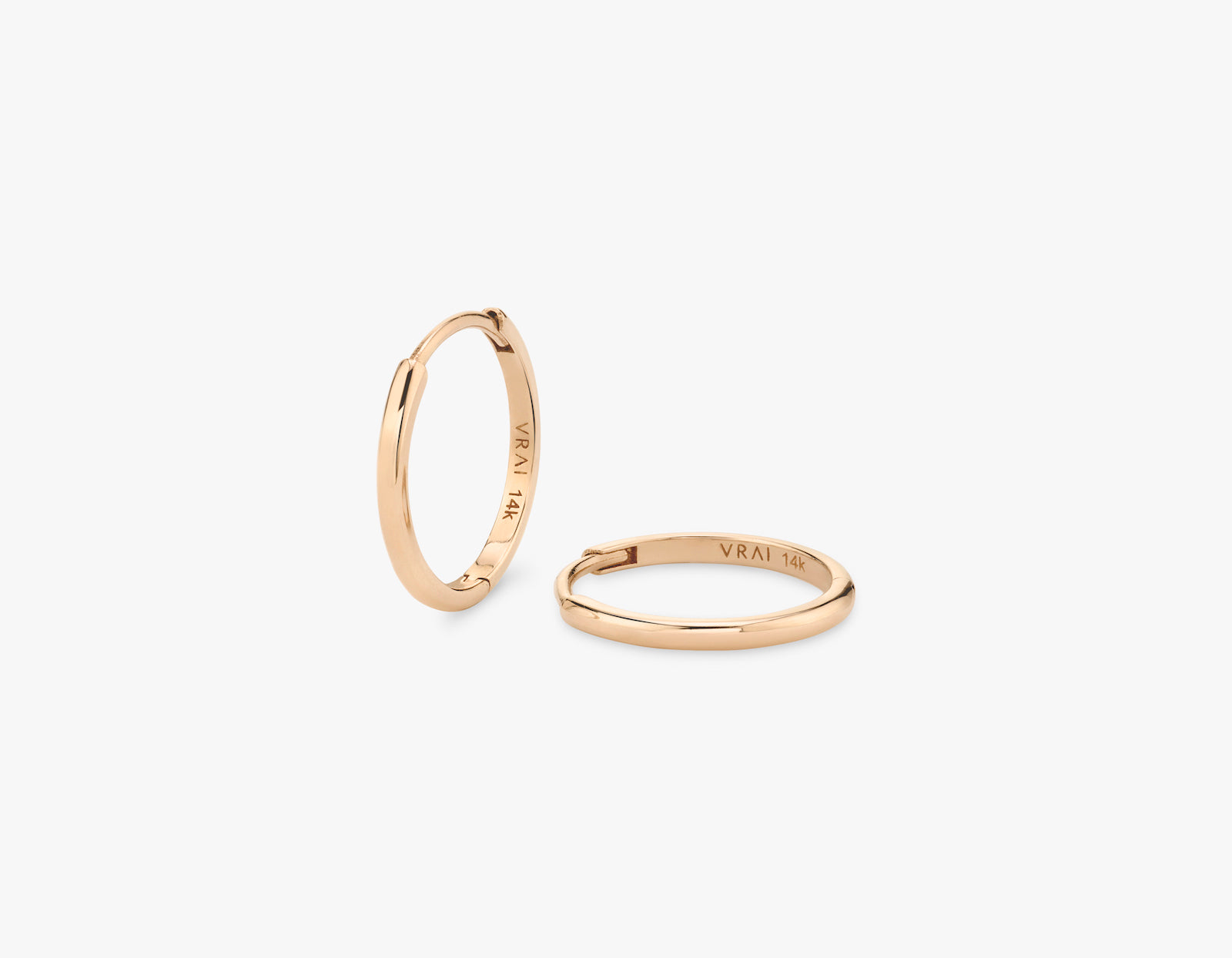 Vrai 14k solid gold simple minimalist Huggie Hoops earrings, 14K Rose Gold