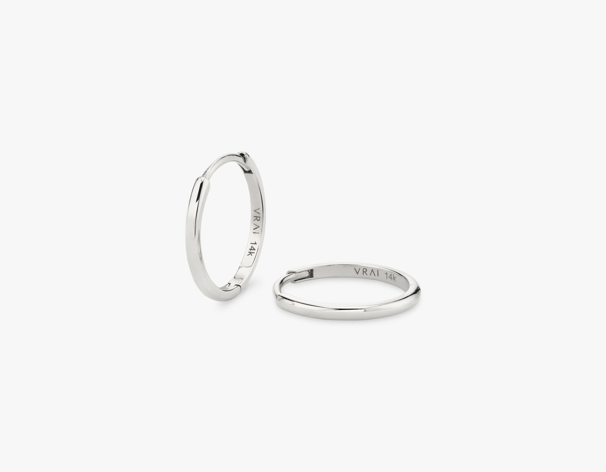 Vrai 14k solid gold simple minimalist Huggie Hoops earrings, 14K White Gold
