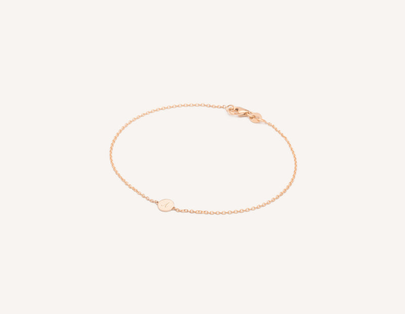 Personalized engraving Initial Bracelet 14k solid gold circular disk on delicate chain by Vrai & Oro minimalist jewelry, 14K Rose Gold