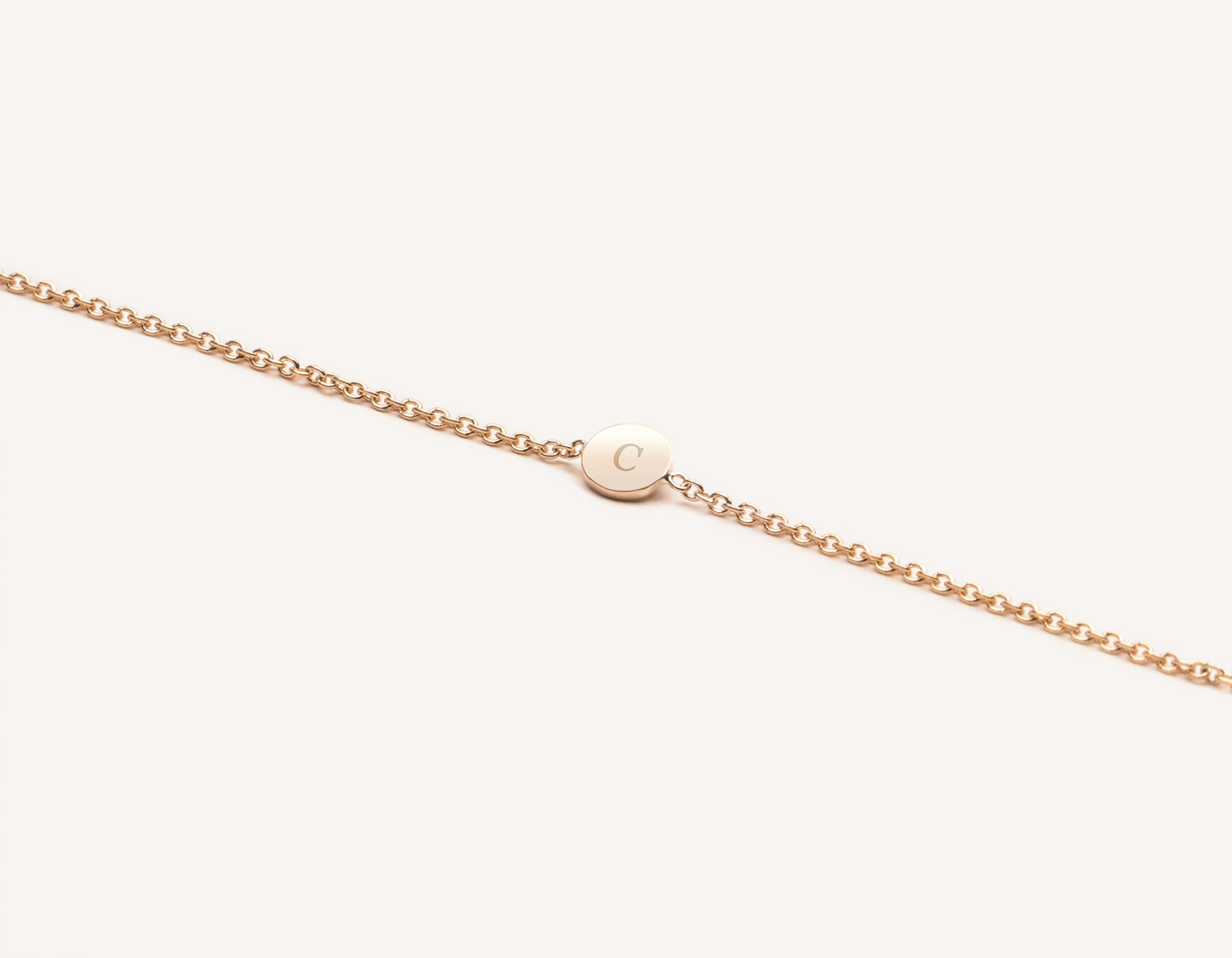 Modern minimalist Initial Bracelet 14k solid gold disk on simple chain Vrai & Oro, 14K Rose Gold