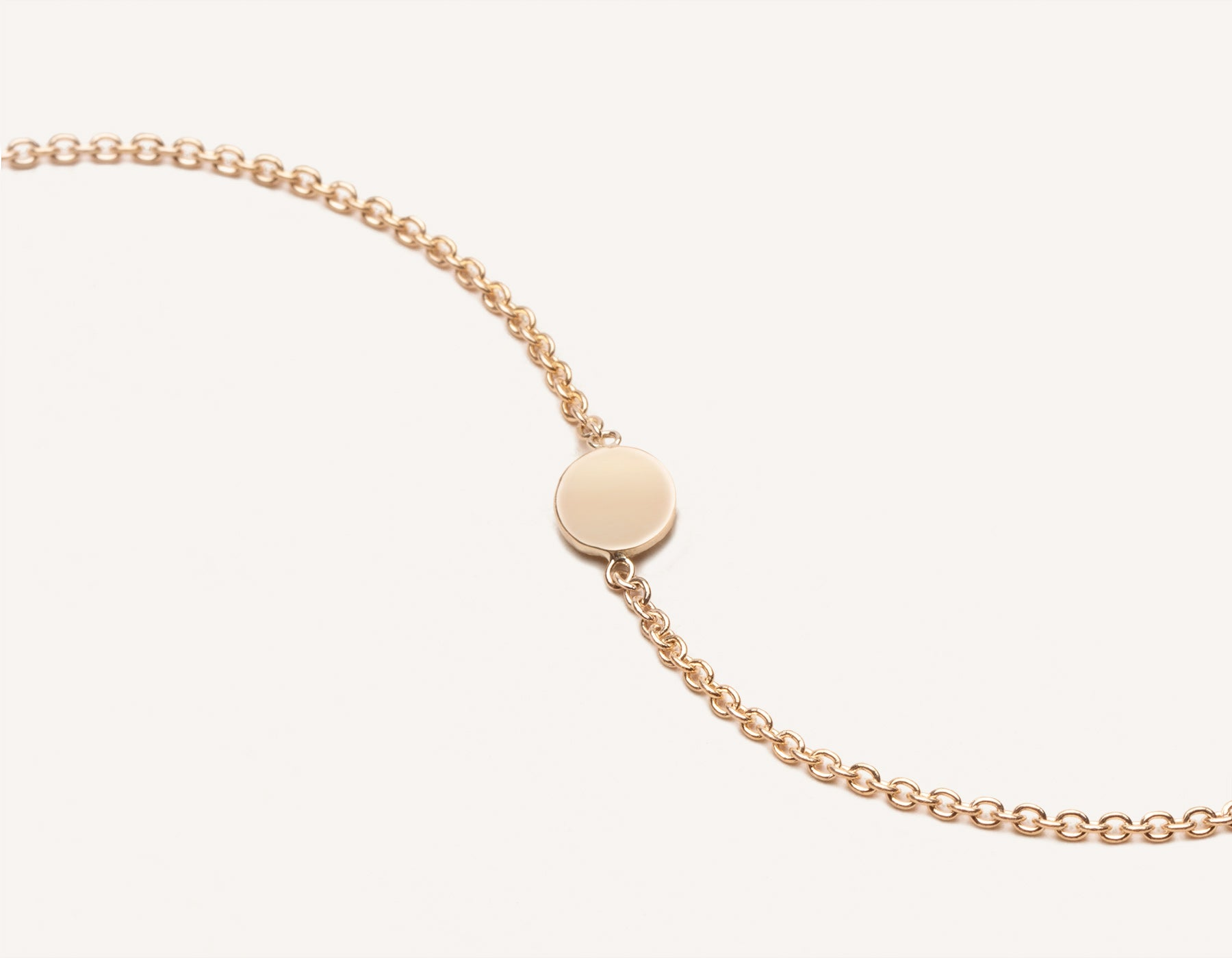 Customizable simple Initial Bracelet 14k solid gold round disk dainty chain Vrai and Oro, 14K Rose Gold