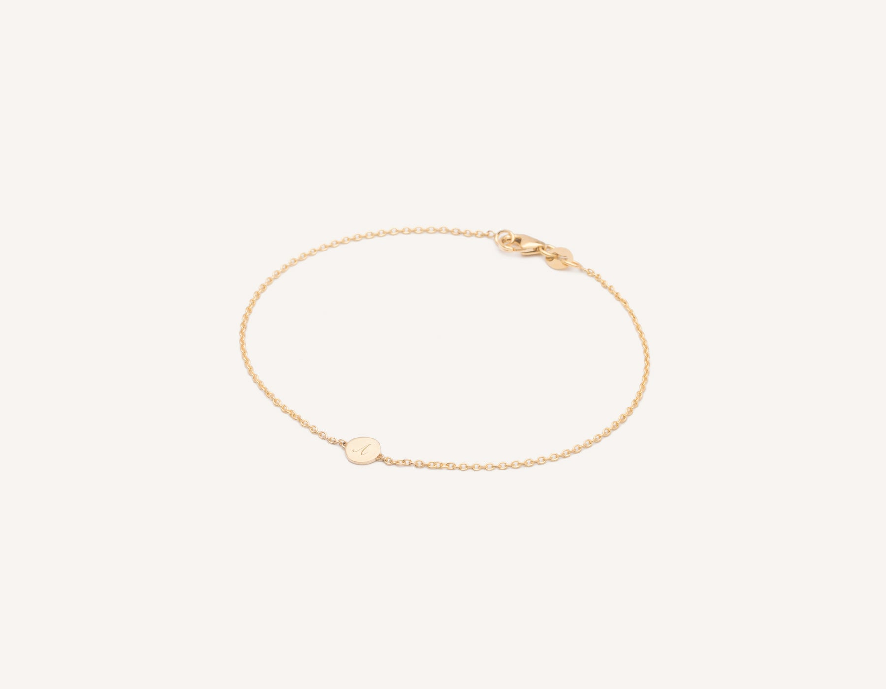 Personalized engraving Initial Bracelet 14k solid gold circular disk on delicate chain by Vrai & Oro minimalist jewelry, 14K Yellow Gold