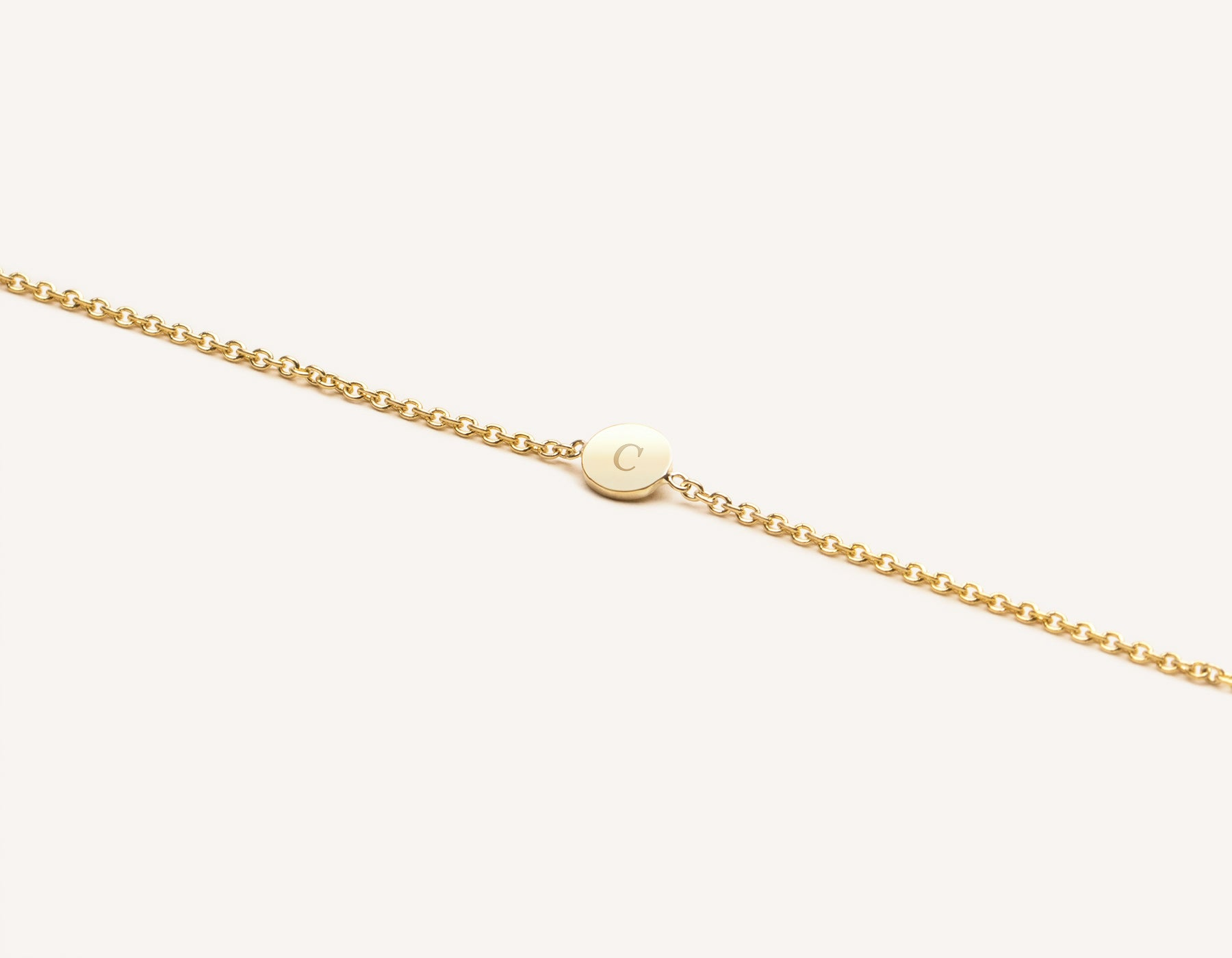 Modern minimalist Initial Bracelet 14k solid gold disk on simple chain Vrai & Oro, 14K Yellow Gold