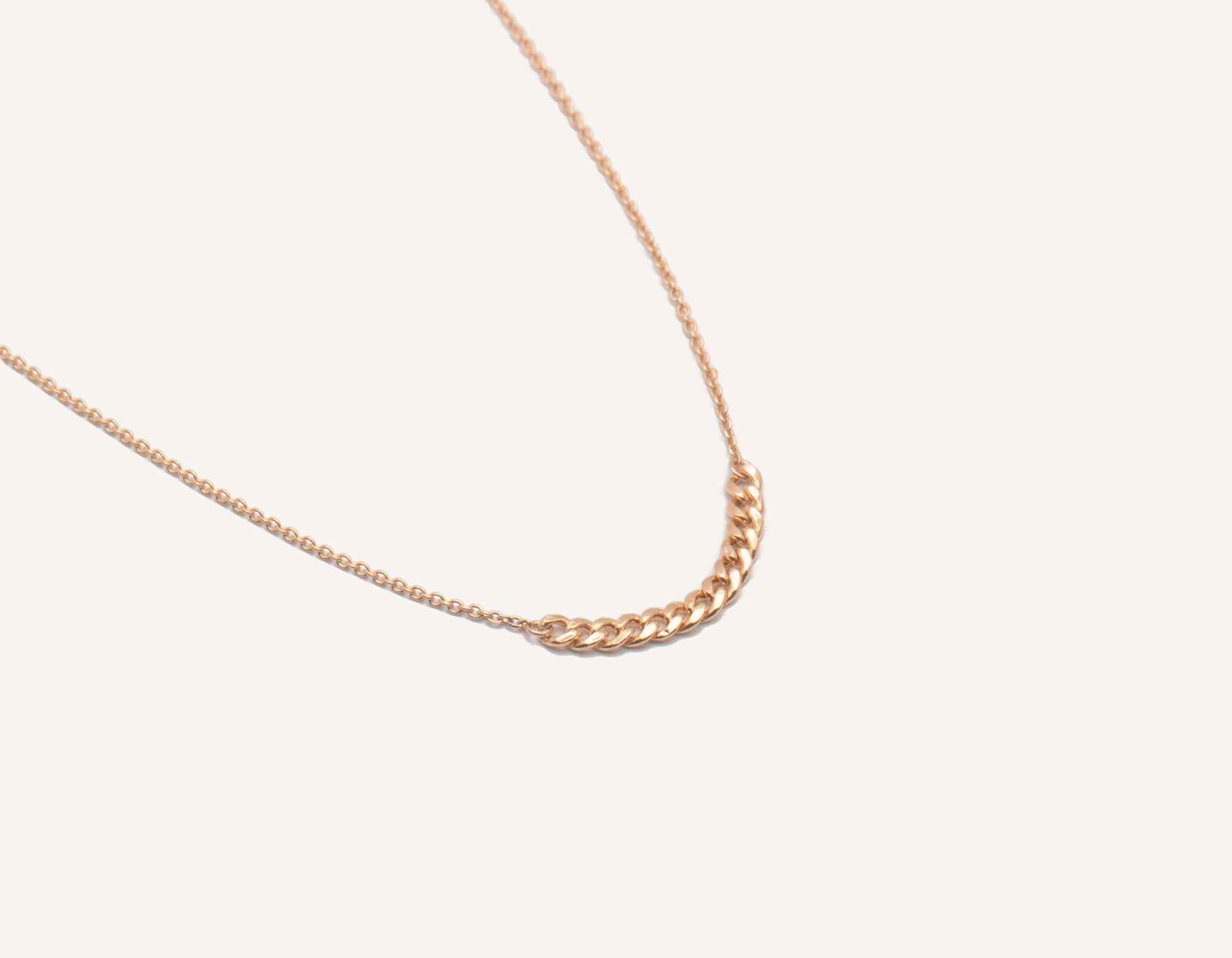 Simple classic chain 14k solid gold Interlink Necklace Vrai and Oro, 14K Rose Gold