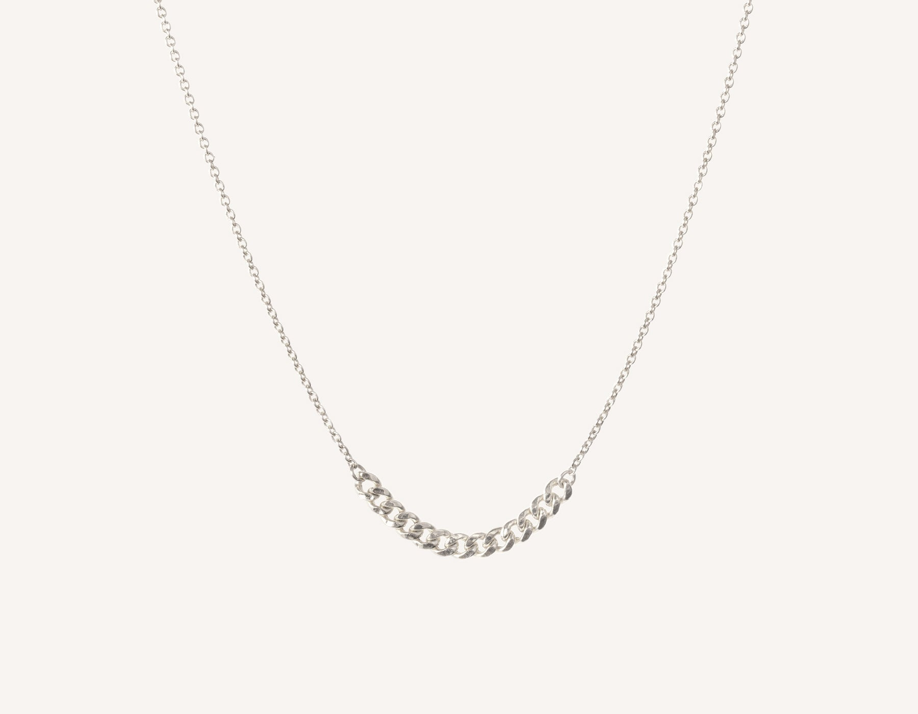 Simple classic chain 14k solid gold Interlink Necklace Vrai and Oro, 14K White Gold